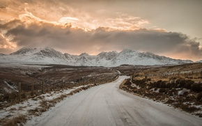 Picture winter, road, field, the sky, the sun, clouds, snow, mountains, the fence