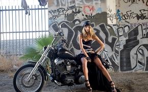 Picture graffiti, dress, motorcycle, Alessandra Ambrosio