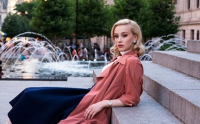 Picture street, watch, makeup, actress, hairstyle, blonde, photographer, fountain, steps, cloak, photoshoot, brand, 2015, Sarah Gadon, …