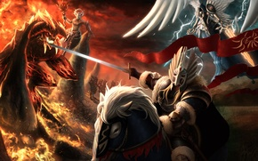 Picture horse, magic, art, the demon, Heroes of Might and Magic, armor, angel, rider, sword