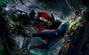 Picture art, blow, armor, Batman, dark knight, Superman, man of steel, Batman v Superman: Dawn of …