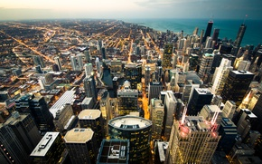 Picture the city, the ocean, skyscrapers, panorama, USA, Chicago, the view from the skyscraper the Willis …