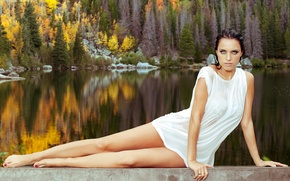 Picture forest, girl, nature, lake, model