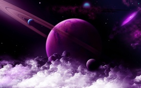 Wallpaper space, stars, clouds, planet