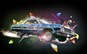 Picture machine, auto, graffiti, spark, colorful