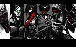 Picture fan art, the invasion of the giants, Shingeki no Kyojin, Mikasa Ackerman, Annie Leonhart, Levi, …
