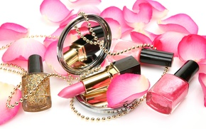 Picture roses, petals, sequins, mirror, lipstick, beads, decoration, cosmetics, lacquer