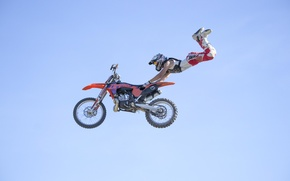 Wallpaper maneuver, FMX, Superman Double Seat Grab, rider, extreme sports, motocross, the sky, freestyle