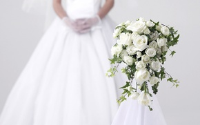 Wallpaper BOUQUET, DRESS, MOOD, WEDDING, ROSES, WHITE
