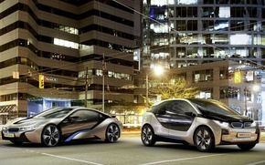 Picture the city, lights, concept, BMW, i8, i3