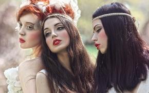 Picture fantasy, art, Dream, three girls, Agnieszka Lorek