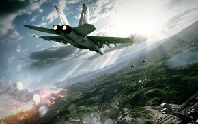Picture aviation, fire, fighters, the battle, game, aircraft, Battlefield 3, navy seals