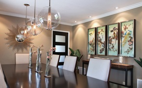 Picture design, style, furniture, pictures, chandeliers, dining room