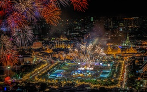 Picture night, lights, holiday, salute, panorama, Thailand, fireworks, Bangkok