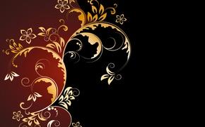 Picture background, golden, ornament, vintage, texture, floral, pattern, floral