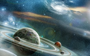 Wallpaper stars, cosmos, planets, Sci Fi