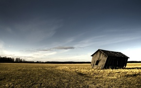 Picture field, clouds, the barn