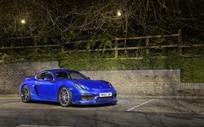Picture porsche, blue, night, cayman, GT4