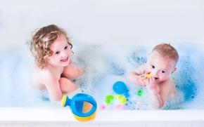 Picture toys, child, boy, small, girl, bath, Bathroom, child, kid, Toys