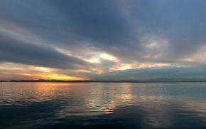 Wallpaper Sunset, horizon, Water, Clouds