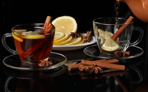 Picture lemon, tea, kettle, Cup, cinnamon