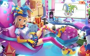 Wallpaper girl, room, art, Joker, anime, map