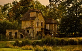Picture trees, house, style, architecture, mansion