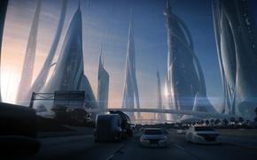 Wallpaper road, machine, the city, future, transport, skyscrapers, art