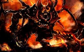 Picture wings, sword, the demon, art, horns, Dota 2, Doom, Lucifer, Gemmaqw
