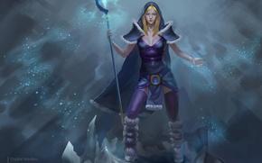 Picture girl, snow, art, staff, Crystal Maiden, Dota 2, Rylai
