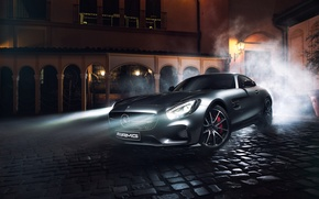 Picture Mercedes-Benz, Front, AMG, Silver, Ligth, Nigth, GT S