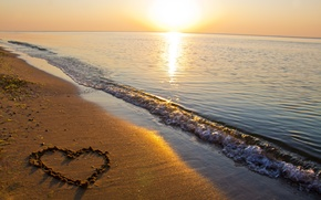 Picture sand, sea, beach, water, the sun, love, nature, reflection, river, background, Wallpaper, heart, wave, wallpaper, ...