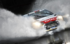Wallpaper Sport, Machine, Citroen, Puddle, Citroen, Squirt, Lights, Car, DS3, WRC, Rally, Rally, Total