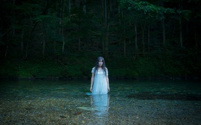 Picture forest, look, water, girl