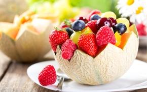 Picture berries, raspberry, blueberries, strawberry, fruit, fresh, dessert, melon, fruits, berries, fruit salad