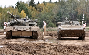 Picture FOREST, TANKS, DIRT, GUN, BMP-2, T-80U, POLYGON