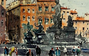 Picture the city, picture, watercolor, the urban landscape, Nice, place Massena, Maximilian DAmico