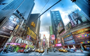 Picture machine, people, New York, crossroads, skyscrapers