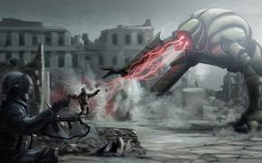 Picture weapons, smoke, robot, monster, ray, art, machine, soldiers, laser, helmet, ruins, battle, digitalinkrod
