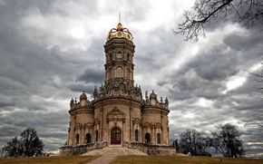 Wallpaper clouds, the city, photo, Cathedral, temple, Russia, Podolsk, monasteries, Church Signs, Dubrovitsy