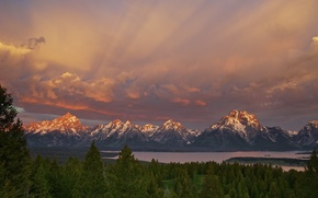 Picture forest, the sky, mountains, lake, morning, USA, Wyoming, national Park Grand Teton