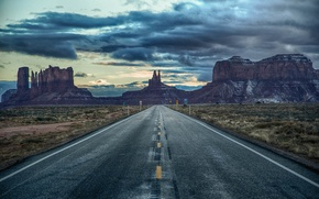 Picture the sky, clouds, road, signs, AZ, Utah, twilight, Monument valley, United States, border