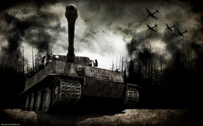 Picture forest, war, aircraft, tank, fumes