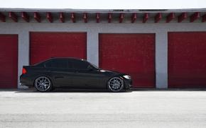 Picture black, BMW, BMW, profile, black, E90, The 3 series