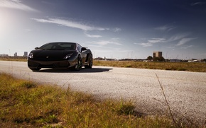 Picture road, grass, black, gallardo, lamborghini, black, roadside, Lamborghini, lp560, Gallardo