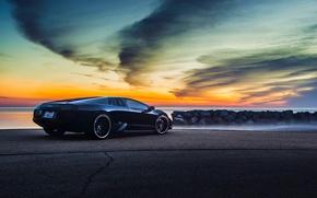 Picture Lamborghini, Black, Murcielago, Forged, V12, Sunrise, Rear, LP640-4