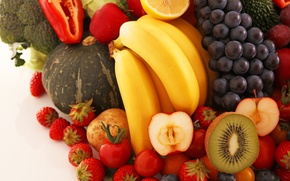 Picture grapes, bananas, fruit, vegetables