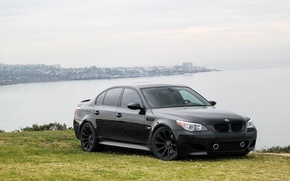 Picture sea, the sky, clouds, lawn, black, bmw, BMW, black, e60, sport sedan