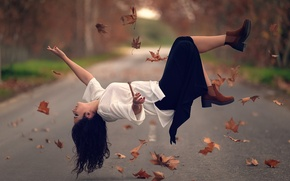 Picture road, leaves, girl, levitation, Flying away