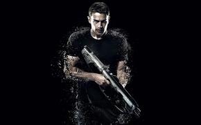 Picture cinema, gun, soldier, actor, weapon, movie, shotgun, film, pose, warrior, strong, muscular, Four, 2015, Theo ...